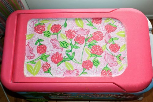 Hand-painted Lilly print on the Spring Break cooler. TSM.