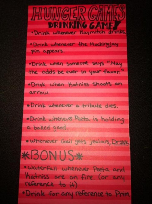 """""""The Hunger Games"""" drinking game! TSM."""