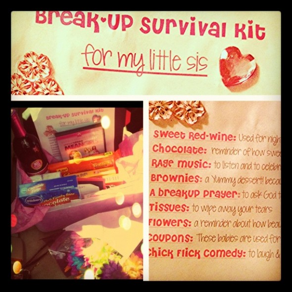 "eb9ce52f4bc93d53583807fe95c29550701777596Making your little a ""Break-Up Survival Kit"" after her boyfriend breaks her heart. TSM."
