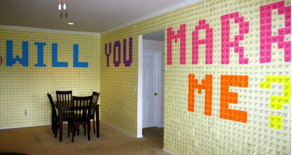 Man Proposes Using 8,000 Post-it Notes