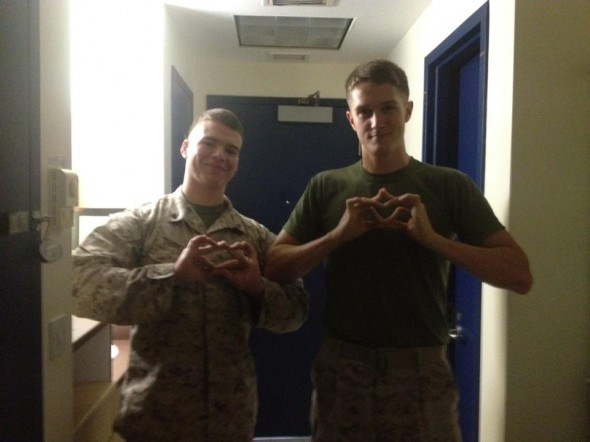 21. Having your deployed boyfriend and his friend throw our sign. TSM.