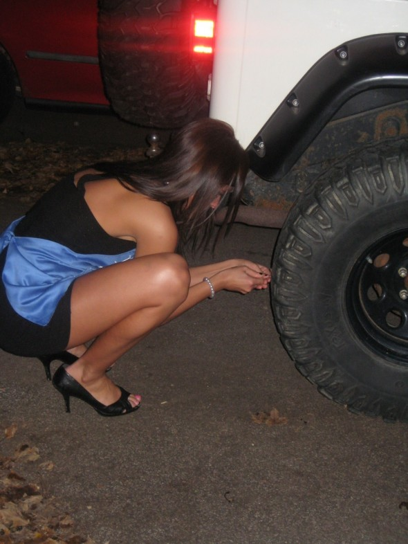 4. Stabbing a hole in his Jeep tire after he cheats on your pledge sister. TSM.